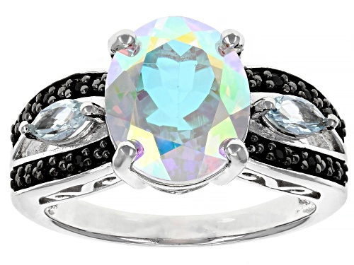 Photo of 3.85ct Oval Mercury Mist(R) Topaz, .36ctw Glacier Topaz(TM) & Black Spinel Rhodium Over Silver Ring - Size 8