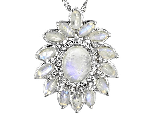 Photo of Oval & Marquise Rainbow Moonstone with .68ctw White Zircon Rhodium Over Silver Slide w/Chain
