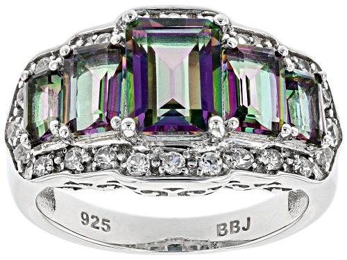 Photo of 2.73CTW EMERALD CUT MULTI COLOR QUARTZ WITH .43CTW WHITE ZIRCON RHODIUM OVER STERLING SILVER RING - Size 7