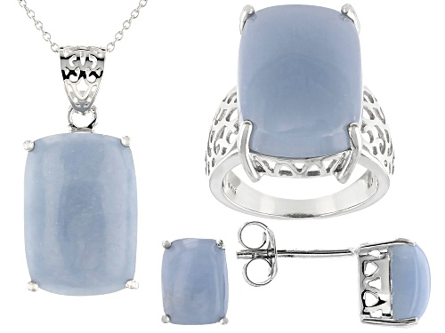 Photo of 20x14mm and 8x6mm Rectangular Angelite Rhodium Over Silver Ring, Earrings & Pendant w/Chain Set