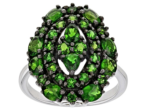 Photo of 2.38ctw Mixed Shape Russian Chrome Diopside Rhodium Over Sterling Silver Ring - Size 8