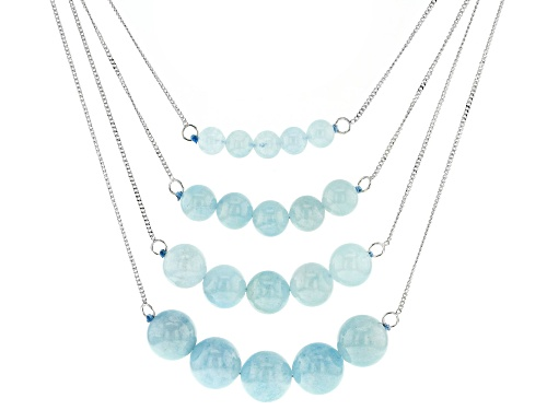 Photo of Graduated 6mm, 8mm, 10mm and 12mm round aquamarine bead sterling silver 4 strand necklace - Size 16