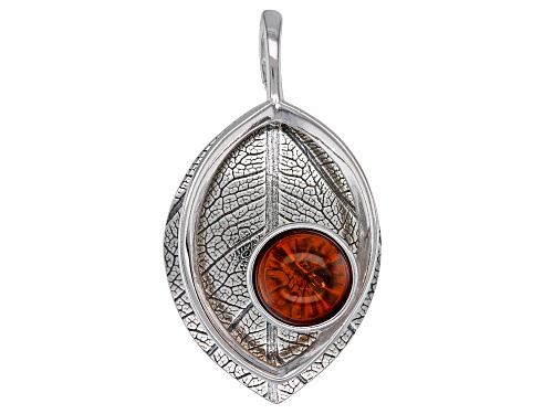 Photo of 8mm round orange amber cabochon solitaire, Rhodium over sterling silver leaf pendant