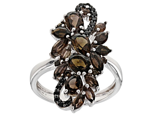 Photo of 2.27CTW MIXED SHAPES SMOKY QUARTZ WITH .13CTW BLACK SPINEL RHODIUM OVER SILVER RING - Size 7