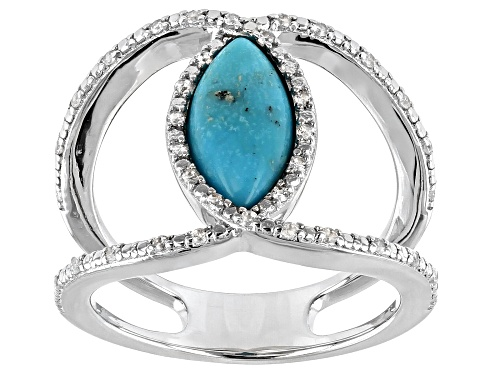 Photo of 8x6mm Marquise Cabochon Turquoise & .16ctw Round White Zircon Rhodium Over Silver Ring - Size 7