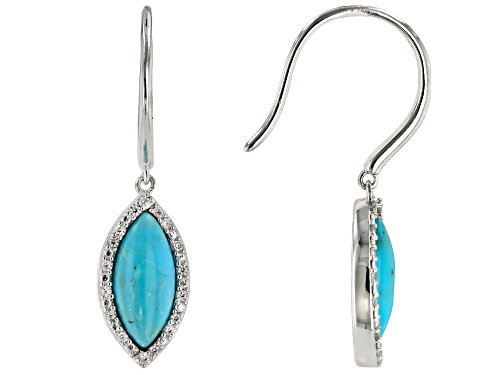 Photo of 11x5mm Marquise Cabochon Turquoise & .15ctw  Round White Zircon Rhodium Over Silver Dangle Earrings