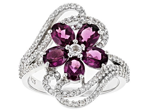 Photo of 2.13ct Oval Raspberry Color Rhodolite & .70ctw White Topaz Rhodium Over Silver Flower Ring - Size 7