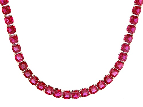 Photo of 61.71CTW SQUARE CUSHION LAB CREATED RUBY 18K ROSE GOLD OVER STERLING SILVER TENNIS NECKLACE - Size 18