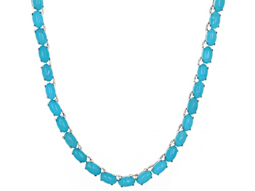 Photo of 5x3mm Oval Cabochon Sleeping Beauty Turquoise Rhodium Over Sterling Silver Tennis Necklace - Size 18