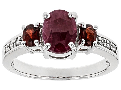 Photo of 1.44CT OVAL INDIAN RUBY, .39CTW VERMELHO GARNET(TN) & .05CTW WHITE ZIRCON RHODIUM OVER SILVER RING - Size 8
