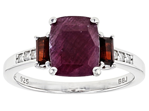 Photo of 2.04ct Indian Ruby with .28ctw Vermelho Garnet™ & .04ctw White Zircon Rhodium Over Silver Ring - Size 9