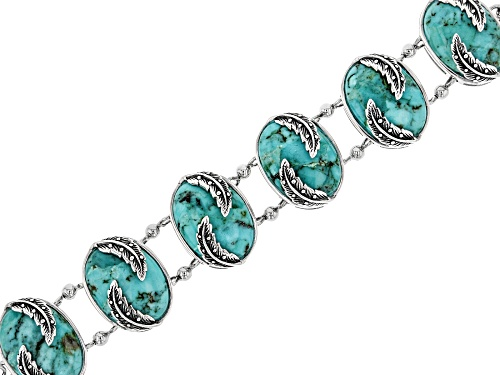 Photo of 18X13MM OVAL CABOCHON TURQUOISE RHODIUM OVER STERLING SILVER 6-STONE BRACELET