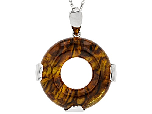 Photo of 34MM DONUT SHAPE CABOCHON AMBER RHODIUM OVER STERLING SILVER ENHANCER WITH CHAIN