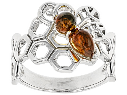 Photo of PEAR SHAPE AND ROUND CABOCHON AMBER RHODIUM OVER STERLING SILVER RING - Size 8