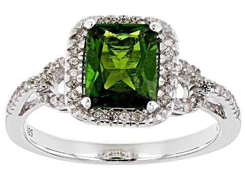 Photo of 1.35ct rectangular chrome diopside with .39ctw round white zircon rhodium over sterling silver ring - Size 9