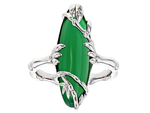 Photo of 23x7MM MARQUISE CABOCHON GREEN ONYX WITH .02CTW WHITE ZIRCON RHODIUM OVER STERLING SILVER RING - Size 7