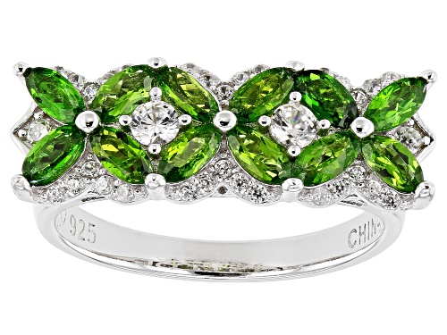 Photo of 1.08ctw marquise chrome diopside and .48ctw round white zircon rhodium over silver band ring - Size 7