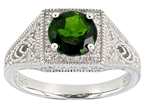 Photo of 1.22ct chrome diopside with 0.46ctw round white zircon rhodium over sterling silver ring - Size 8