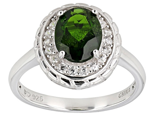 Photo of 1.67ct chrome diopside with 0.36ctw round white zircon rhodium over sterling silver ring - Size 7