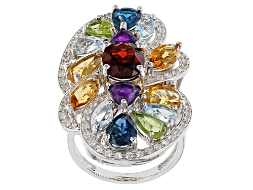 Photo of 1.75ct Oval Vermelho Garnet(TM) With 6.97ctw Multi-Gemstone Rhodium Over Silver Cluster Ring - Size 8