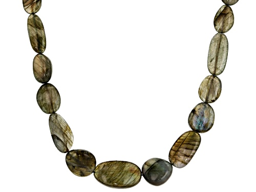 Photo of Free-Form Labradorite Rhodium Over Sterling Silver Necklace - Size 18