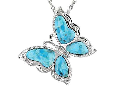Photo of Free-form Turquoise Rhodium Over Sterling Silver Butterfly Brooch/Slide/Enhancer with Chain