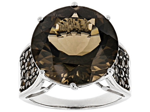 Photo of 12.61ctw Round Smoky Quartz Rhodium Over Sterling Silver Ring - Size 9
