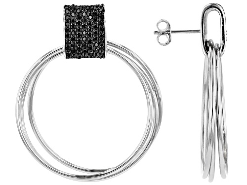 Photo of 1.46ctw Round Black Spinel Rhodium Over Silver 3-Ring Door Knocker Earrings