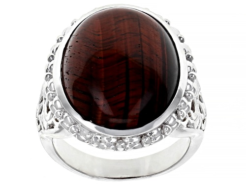 Photo of 20X15MM OVAL CABOCHON TIGER'S EYE RHODIUM OVER STERLING SILVER SOLITAIRE RING - Size 7