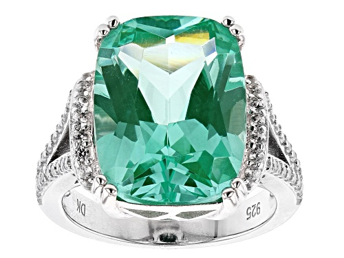 Photo of 9.35ct Rectangular Cushion Lab Created Green Spinel & .29ctw White  Zircon Rhodium Over Silver Ring - Size 9