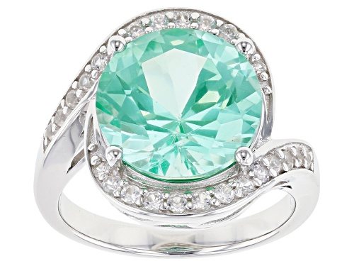 Photo of 6.72ct Round Lab Created Green Spinel & .40ctw Round White Zircon Rhodium Over Silver Bypass Ring - Size 9