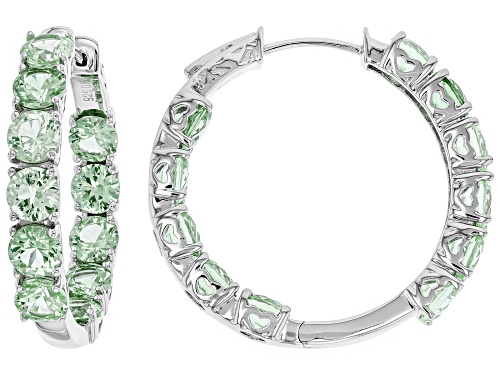 Photo of 10.88ctw Round Lab Created Green Spinel Rhodium Over Sterling Silver Inside/Outside Hoop Earrings