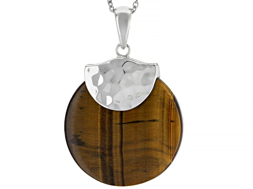Photo of 30mm Round Brown Tiger's Eye Solitaire Rhodium Over Sterling Silver Pendant with Chain