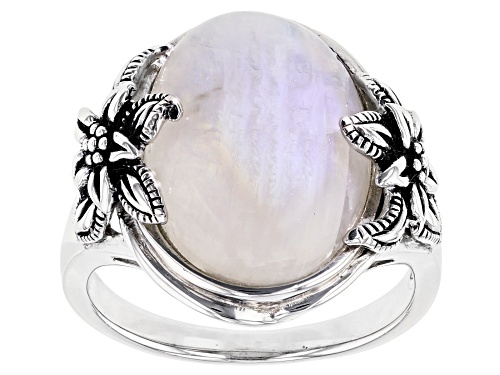 Photo of 16x12mm Oval Rainbow Moonstone Solitaire  Rhodium Over Sterling Silver Floral Detail Ring - Size 7