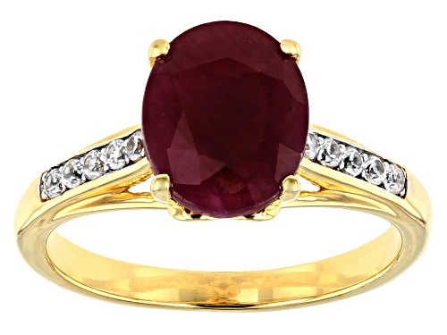 Photo of 3.15ct oval Indian ruby with .17ctw round white zircon 18k yellow gold over sterling silver ring. - Size 8