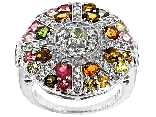 Photo of 2.10ctw mixed-color tourmaline with .40ctw round white zircon rhodium over sterling silver ring - Size 7