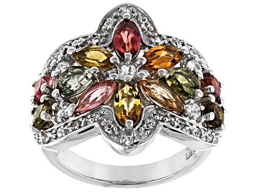 Photo of 2.13ctw mixed-color tourmaline with .40ctw round white zircon rhodium over sterling silver ring - Size 8