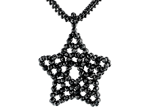 Photo of 255.00ctw 2.5-3.5mm Round Black Spinel Knitted Endless Strand Bead Star Necklace - Size 36