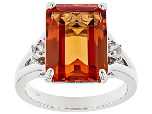 Photo of 8.41ct Emerald Cut Lab Created Padparadscha Sapphire & .13ctw White Zircon Rhodium Over Silver Ring - Size 8