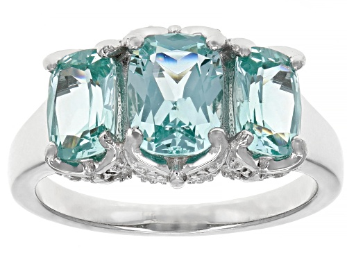 Photo of 3.02CTW CUSHION LAB CREATED GREEN SPINEL WITH .03CTW WHITE DIAMOND ACCENT RHODIUM OVER SILVER RING - Size 8