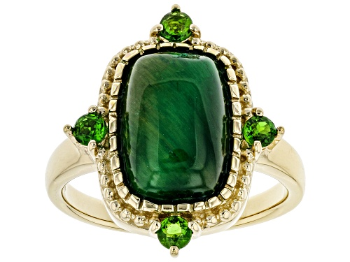 Photo of 12x8mm Tigers Eye with .31ctw Russian Chrome Diopside 18k Yellow Gold Over Sterling Silver Ring - Size 8