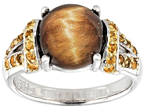 Photo of 10mm Round Brown Tigers Eye with .28ctw Round Brazilian Citrine Rhodium Over Sterling Silver Ring - Size 9