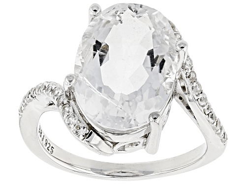 Photo of 4.38ct Oval Crystal Quartz with .20ctw Round White Zircon Rhodium Over Sterling Silver Ring - Size 7
