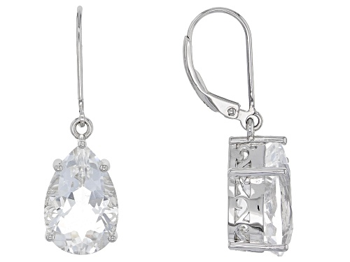 Photo of 8.62ctw Pear Shape Crystal Quartz Rhodium Over Sterling Silver Dangle Earrings