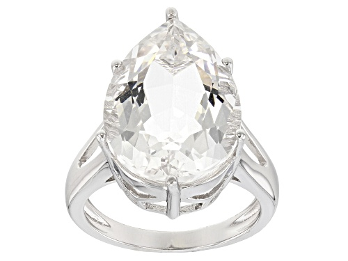 Photo of 8.58ct Pear Shape Crystal Quartz Rhodium Over Sterling Silver Solitaire Ring - Size 8