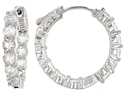 4.00ctw Round Crystal Quartz Rhodium Over Sterling Silver Inside/Outside Hoop Earrings