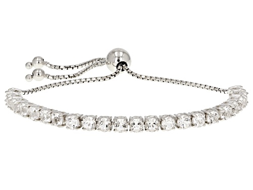 """Photo of 4.05ctw Round Crystal Quartz Rhodium Over Sterling Silver Bolo Bracelet Adjusts Approximately 6""""-9"""""""