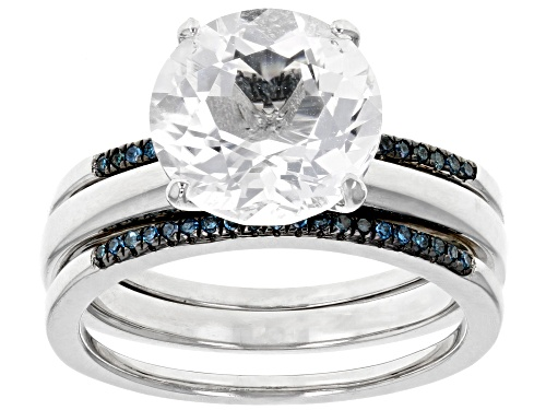 Photo of 3.12CT ROUND CRYSTAL QUARTZ WITH .11CTW BLUE DIAMOND RHODIUM OVER SILVER RING AND ENHANCER SET - Size 6