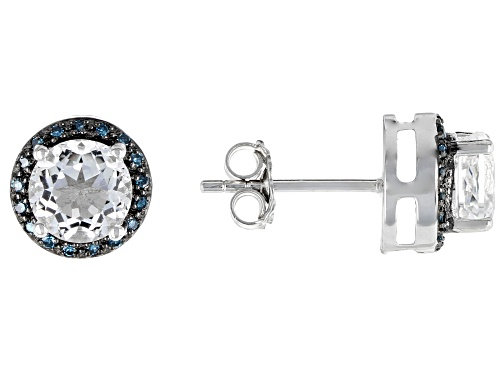 Photo of 1.48CTW ROUND CRYSTAL QUARTZ WITH .10CTW BLUE DIAMOND RHODIUM OVER SILVER STUD EARRINGS