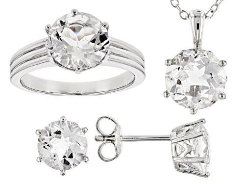 Photo of 6.18ctw Crystal Quartz Soliatire Ring, Earrings & Pendant w/ Chain Rhodium Over Sterling Silver Set